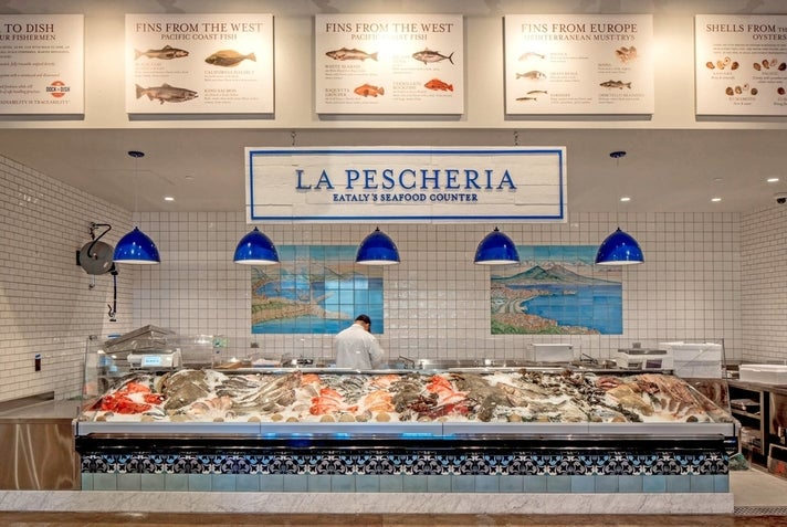 Seafood counter at Eataly Los Angeles